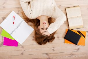 woman worried about exams
